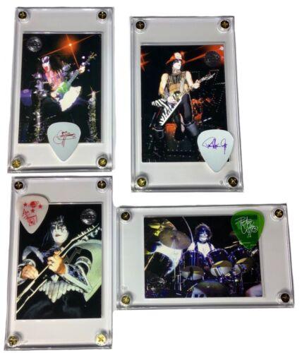 Complete package all 4 KISS guitar pick / card displays Gene, Paul, Ace & Peter