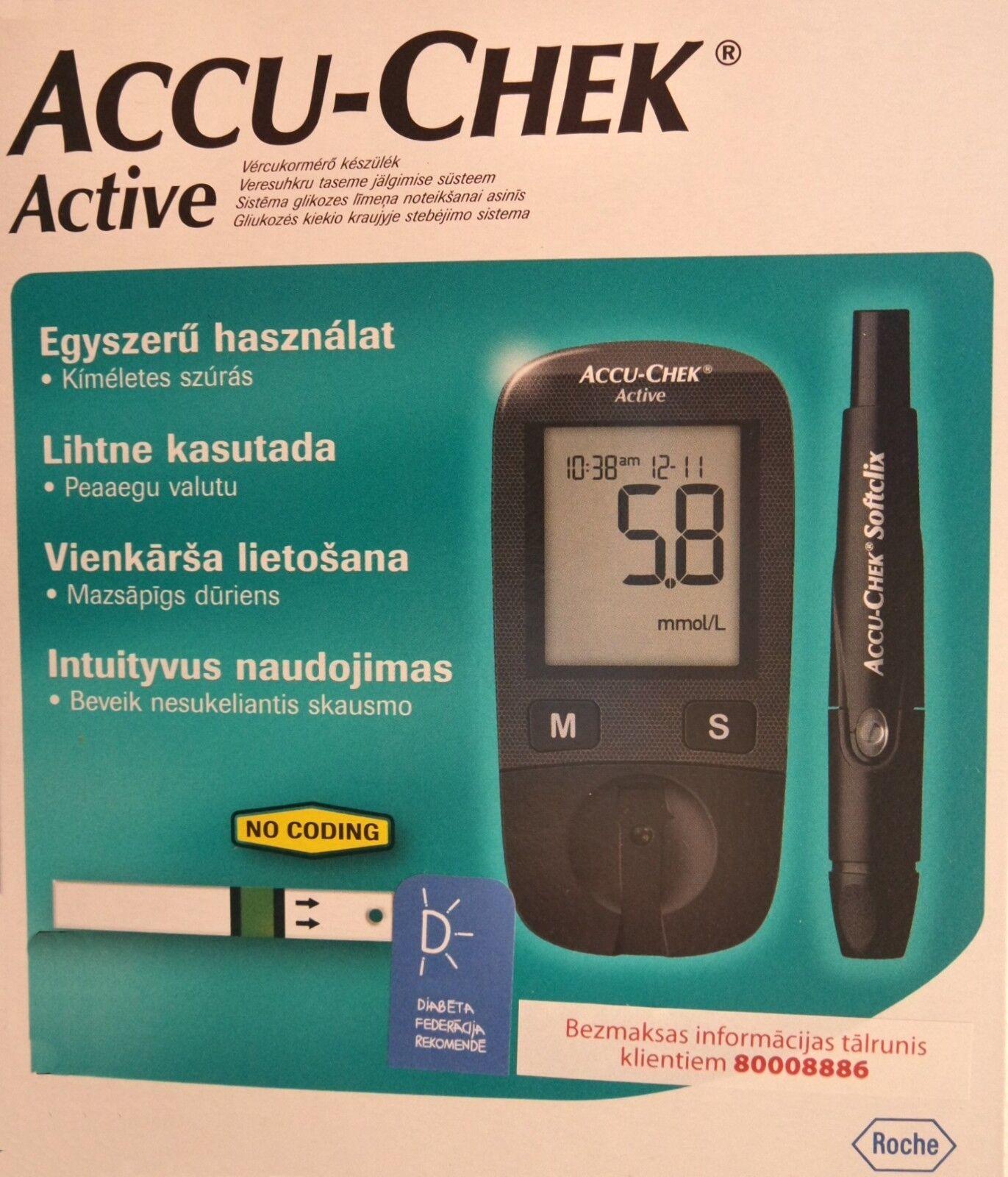 BlooD glucose Meter diabetic Accu-Chek Active mmol/L start k