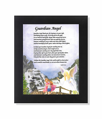 Guardian Angel #4 with Children on Bridge Poem Wall Picture 8x10 Art Print