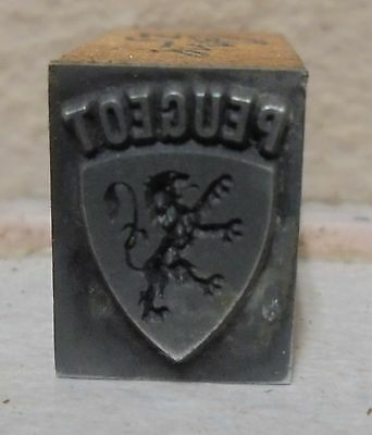 Vintage Peugeot Bang Metal Wood Letterpress Printing Block Type
