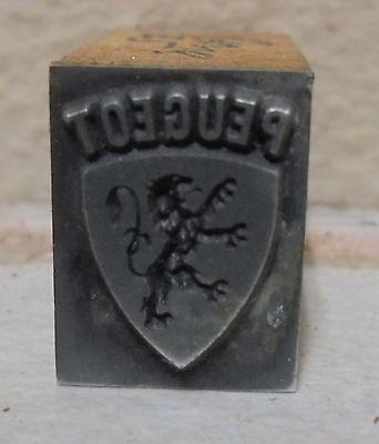 Vintage Peugeot Bang Metal Wood Letterpress Printing Block Type