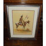 Olaf Wieghorst Signed Frame Print Numbered Warrior On Horseback