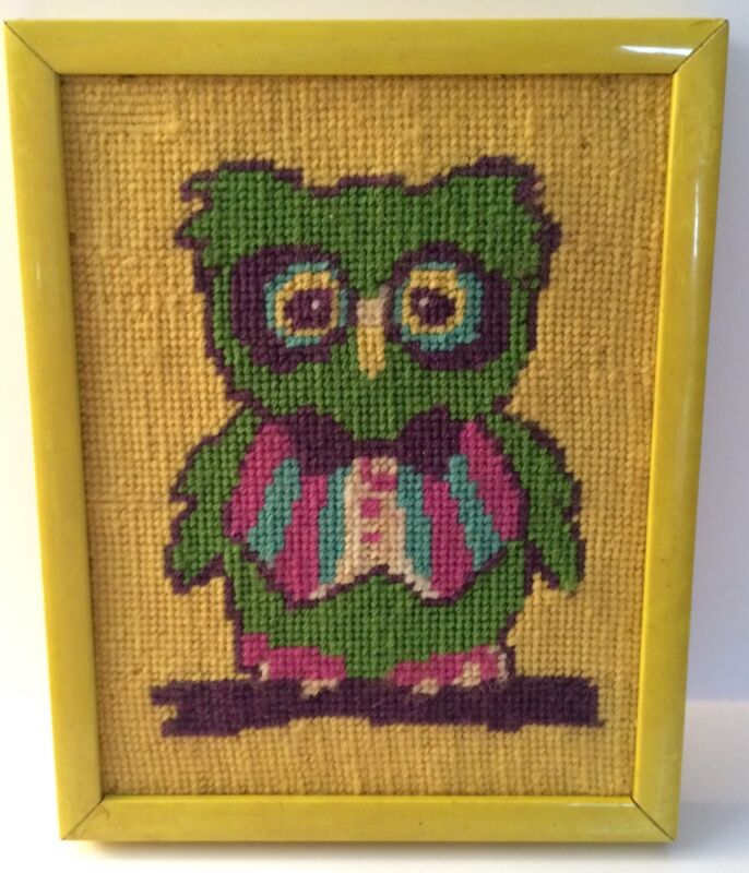"""Vintage Owl Needlepoint Cute Bright Colors Handmade Yellow Frame 9.5"""" x 7.5"""""""