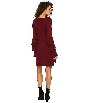 Kensie Women's Soft Sweater Tiered Bell Sleeve DressColor Cherry Wood Worth $89