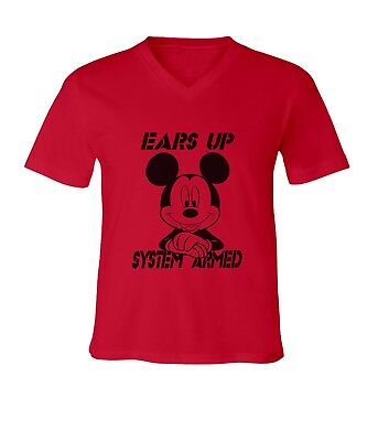 Mickey Mouse Ears Up System Armed Men Women Unisex V-Neck Short Top Tee T-Shirt](Mickey Mouse Ears For Men)