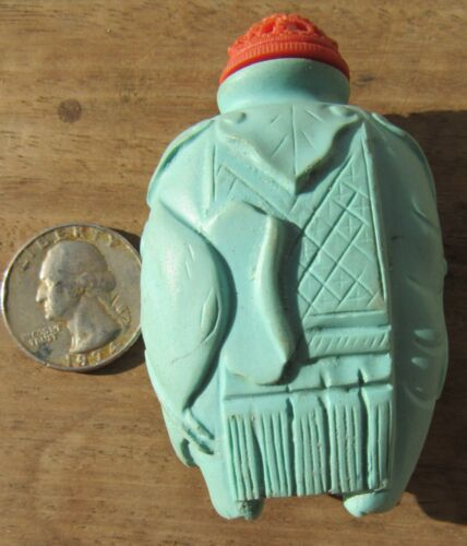 GORGEOUS ANTIQUE CHINESE TURQUOISE? FIGURAL ELEPHANT SNUFF BOTTLE
