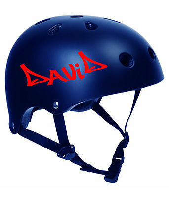 - 2 x PERSONALISED BIKE HELMET STICKERS CYCLE DECALS CHILDRENS KIDS BMX SKATEBOARD
