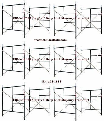 6 Set Of 5 X 5 X 7 Masonry Bj Drop Lock 1.69 Scaffold Frame Set Cbmscaffold