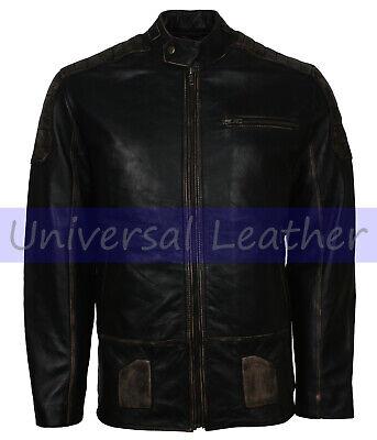 Mens Distressed Padded Italian Black Motorcycle Leather Jacket Biker Black Distressed Italian Leather Jacket