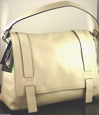 AB Bellucci Beige Seta Italian Leather Satchel Shoulder Bag Made In Italy NWT
