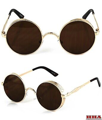 Gold Side Shield Vintage Retro Vampire Goth Steampunk Style Round Sun Glasses