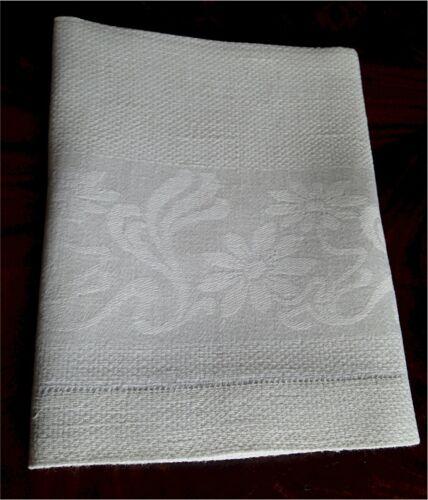 """Lovely Vintage Linen Damask Towel Floral Hemstitched 39 1/2"""""""