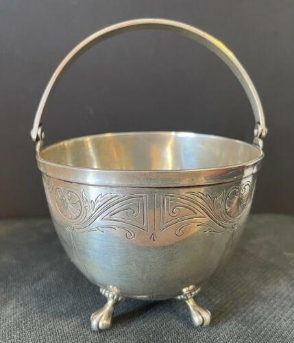 Antique Sterling Silver Swing Handle Sugar Bowl Basket w/ Paw Feet Etched Design