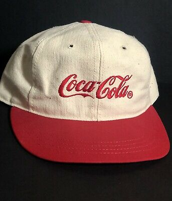 Vintage 90s Coke Coca-Cola Adjustable Snap Hat Cap White & Red Trim Made USA MFG