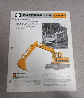 Cat Caterpillar 215b Sa Sa Excavator Specifications Brochure Manual 1984