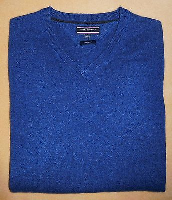 Men's TOMMY HILFIGER 100% Cashmere Solid Blue V-Neck Long Sleeve Sweater Medium