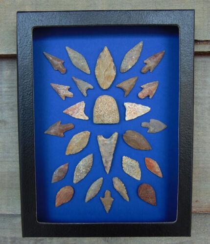 N1) 6X8 Framed Neolithic Sahara Artifacts arrowheads point celt arrowhead board
