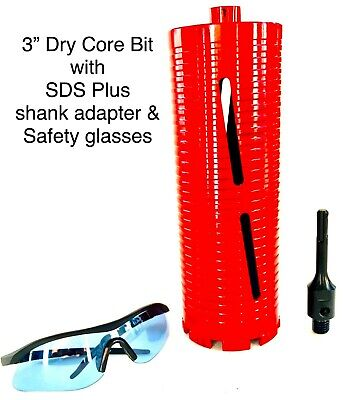 Sds Plus Shank Adapter With 3 Dry Core Bit For Use On Rotary Hammer Drill