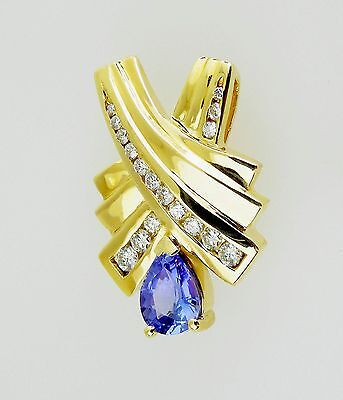 14KT  AWESOME! YELLOW GOLD SLIDE WITH TANZANITE AND DIAMONDS
