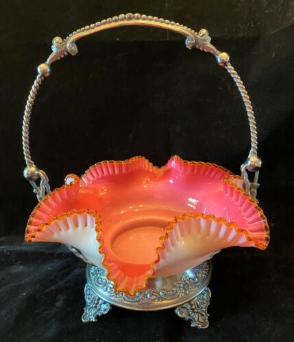 Antique Wilcox Victorian Art Glass Silver Brides Basket Cranberry Cased Glass