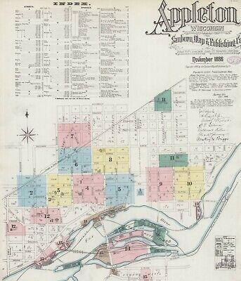 Appleton,  Wisconsin~Sanborn Map© sheets~ 16 high resolution color~ on CD~1886