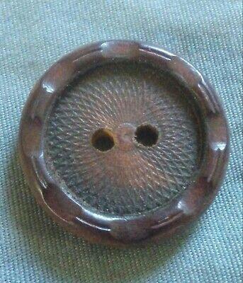 Scarce Brass Fish Button ~ 78 Paris Back Fish Button ~ Blue Tint