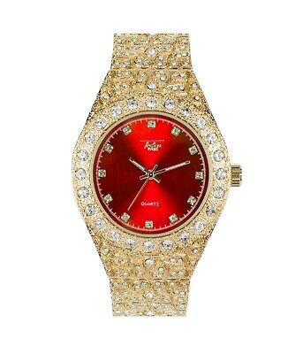 Men Ice Watch Bling Rapper Simulate Diamond Nugget Gold Hip Luxury Cubic RED
