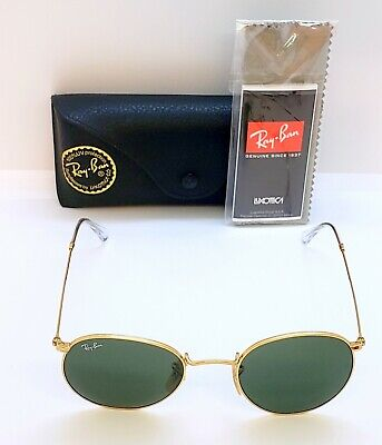 AUTHENTIC RAY-BAN RB 3447 001 ROUND METAL GOLD/GREEN CLASSIC ITALY 50-21 (Classic 21 Metal)