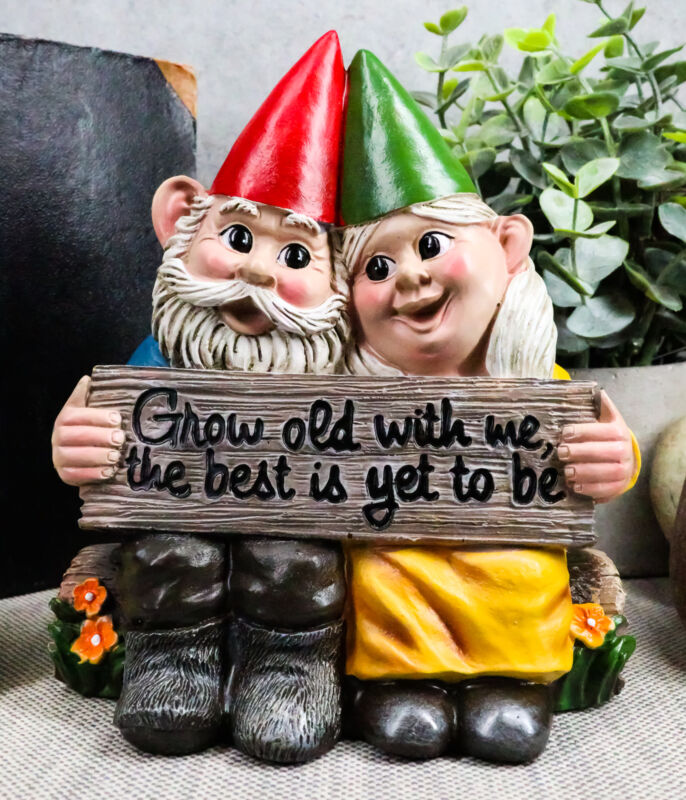 Ebros Grow Old With Me The Best Is Yet To Be Whimsical Mr & Mrs Gnome Statue