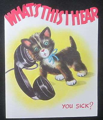 Vintage Get Well Greeting Card Embossed Kitten on the Phone