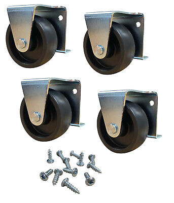2 Inch Low Profile Kitchen Cabinet Trundle Casters Wheels Screws Included