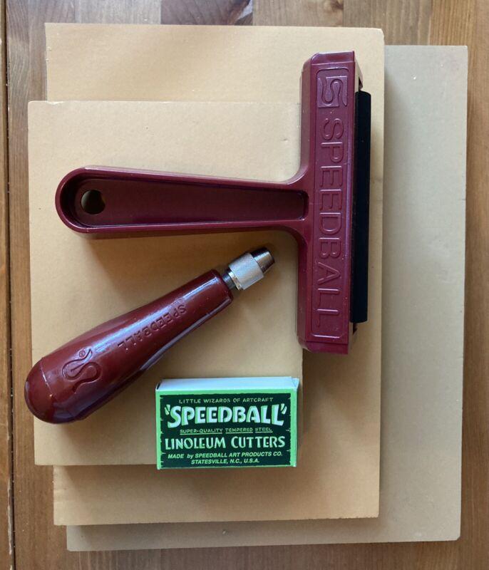 Speedball Linoleum Cutting Supplies - blocks, cutter, brayer,