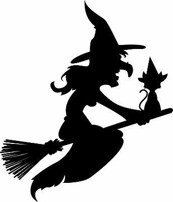 Window Wall vehicle Display Halloween Decal Vinyl Sticker Witch Cat Broomstick ()