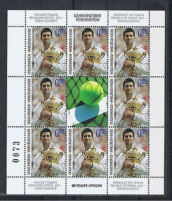 Bosnien Rep. Srpska Bosnia Djokovic Erstauflage!!! First Print Kleinbogen! RRR