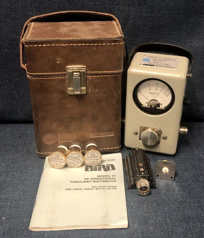 Bird Model 43 Thruline Wattmeter 3 Slugs 1W 25W 50W Manual Leather Case