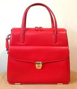 Vintage Authentic Nazareno Gabrielli Red Leather Lock & Key Zipper Handbag