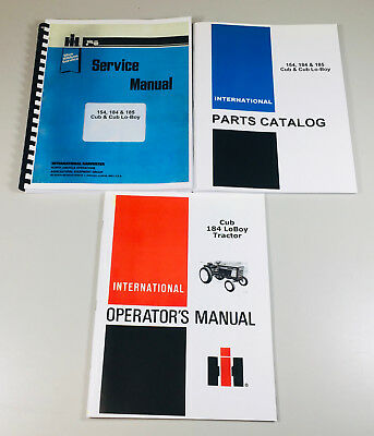 International Cub 184 Lo-boy Tractor Mower Service Parts Operators Manual Set