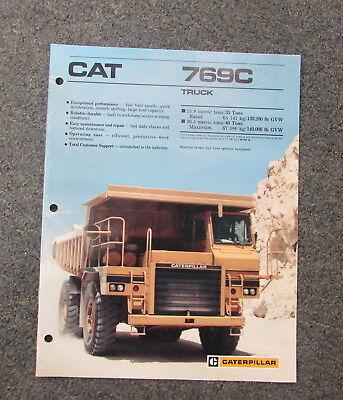 Cat Caterpillar 769c Truck Dealers Brochure Manual 1988