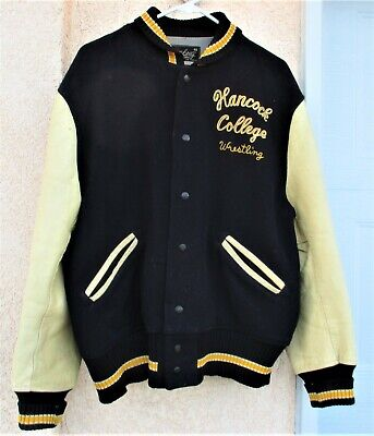 1970's Whiting Brand Hancock College Wool Wrestling Letterman Jacket * Size 48