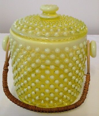 ULTRA RARE FENTON TOPAZ HOBNAIL ART GLASS COOKIE JAR WITH LID AND HANDLE