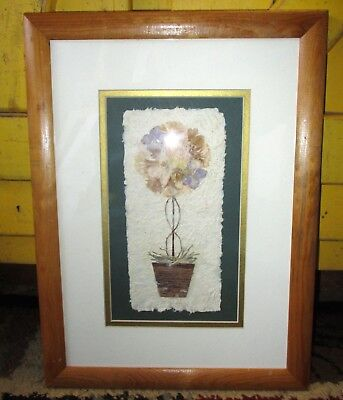 Framed Mixed Media Hand Made Paper Titled Topiary 1 Artist Signed Kristina 94 #2