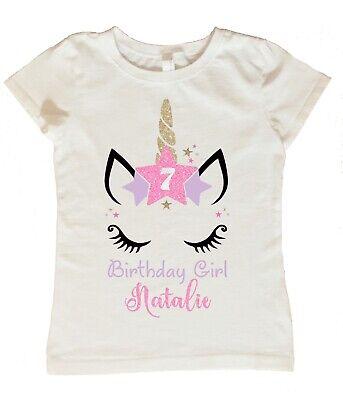 Custom Girl Clothing (Unicorn Birthday Shirt, Personalized Unicorn Birthday Shirt, Custom Unicorn)