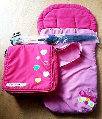 KOOCHI BABY CHANGING BAG, PINK FOOTMUFF & BLACK SUN PARASOL, used for sale  Newcastle upon Tyne