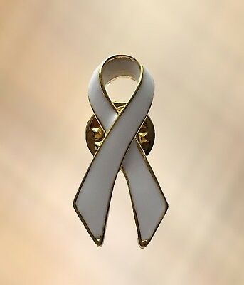 NEW White Ribbon Charity Lapel Pin Awareness Brooch Bone & Lung Cancer, MS (Ribbon Charity)