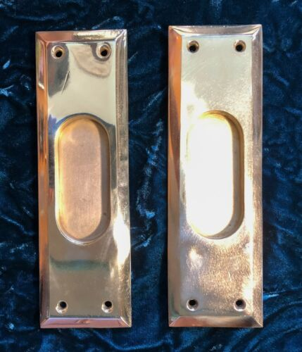 Pair of Antique Cast Brass Pocket Door Plates c.1900-40