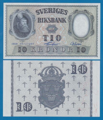 Sweden 10 Kronor P 43g 1959 UNC Low Shipping! Combine FREE! P 43 g