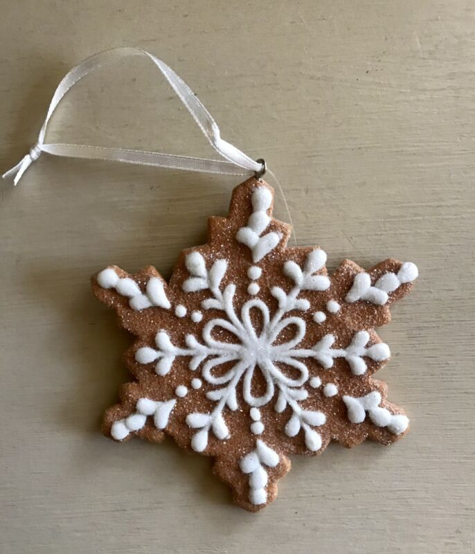 White Snowflake Gingerbread Cookie Ornament