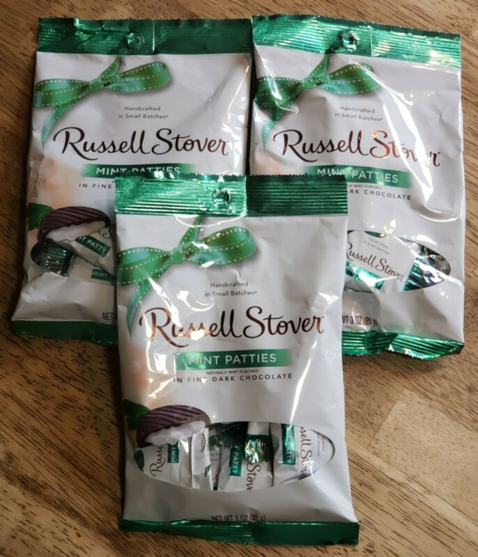 RUSSELL STOVER- MINT PATTIES in Fine Dark Chocolate Candy-