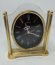 SEIKO Gold Tone Oval Analog Shelf Desk Mantel Clock Japan Quartz QQZ337S