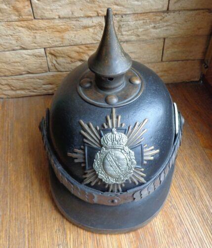 WW1 German Saxony Felt Pickelhaube Helmet - Reproduction